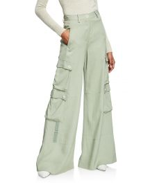 Lux Twill Wide-Leg Cargo Pants at Neiman Marcus