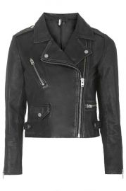 Luxe Leather biker Jacket at Topshop