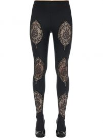 Lycra  Lace Footed Leggings by Versace at Luisaviaroma