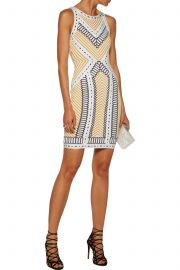 Lylah pointelle-trimmed bandage-jacquard mini dress by Herve Leger at The Outnet