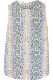 Lyle snake-print wash silk top at The Outnet
