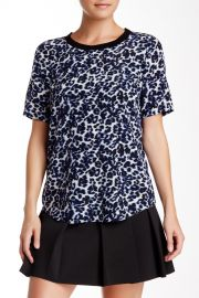 Lynx Print Short Sleeve Silk Blouse at Nordstrom Rack