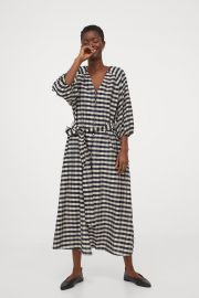 Lyocell-blend Dress in Dark Blue / Beige Checked at H&M