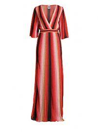 M Missoni - Textured Stripes Plunging Maxi Dress at Saks Fifth Avenue