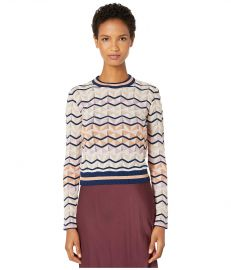 M Missoni Long Sleeve Top in Zigzag Stitch at Zappos