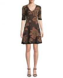 M Missoni Short-Sleeve Short Geometric Jacquard Dress at Neiman Marcus