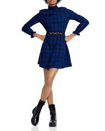 MAJE RIVINE PLAID A-LINE MINI  at Bloomingdales