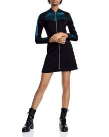 MAJE RIZIA CONTRAST-INSET A-LINE MINI DRESS at Bloomingdales