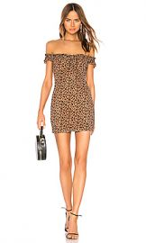 MAJORELLE Darcy Mini Dress in Tan Leopard from Revolve com at Revolve