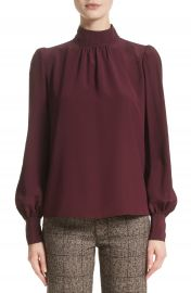MARC JACOBS Bishop Sleeve Silk Cr  pe de Chine Blouse at Nordstrom