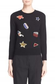 MARC JACOBS Embroidered Patch Wool Sweater at Nordstrom
