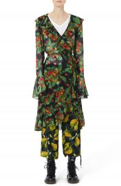 MARC JACOBS Fruit Print Ruffle Wrap Dress at Nordstrom
