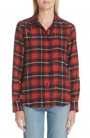 MARC JACOBS Plaid Print Silk Shirt at Nordstrom