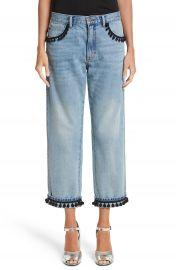 MARC JACOBS Pom Trim Crop Jeans at Nordstrom