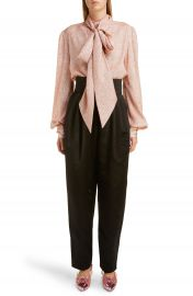 MARC JACOBS Tie Neck Lam   Blouse   Nordstrom at Nordstrom