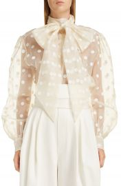 MARC JACOBS Tie Neck Polka Dot Silk Blouse   Nordstrom at Nordstrom