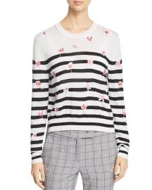 MARELLA RITA STRIPED FLORAL-EMBROIDERED SWEATER at Bloomingdales