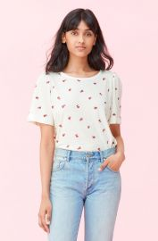 MARGUERITE EMBROIDERED JERSEY TEE at Rebecca Taylor