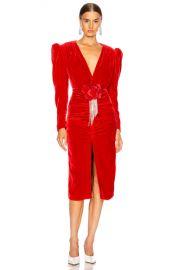 MARIANNA SENCHINA Velvet V Neck Midi Dress in Red   FWRD at Forward