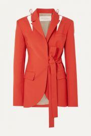 MATERIEL - Cutout belted wool-blend blazer at Net A Porter