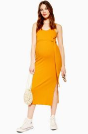 MATERNITY Belted Midi Dress at Topshop