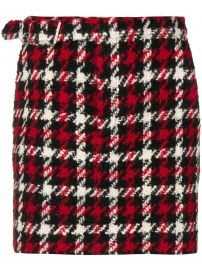 MCQ ALEXANDER MCQUEEN HOUNDSTOOTH MINI SKIRT - RED at Farfetch
