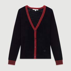 MERINA Fine knit merino wool cardigan at Maje