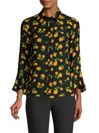 MICHAEL KORS COLLECTION - SCATTERED ROSES SILK FLARE-SLEEVE BLOUSE at Saks Fifth Avenue