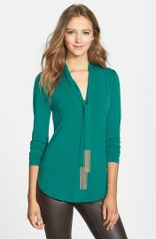 MICHAEL Michael Kors Chain Fringe Tie Neck Top   Nordstrom at Nordstrom
