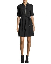 MICHAEL Michael Kors Lock-Zip Crepe Shirtdress at Neiman Marcus