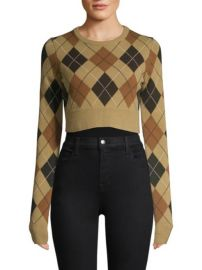 MICHAEL KORS COLLECTION - CROPPED CASHMERE ARGYLE PULLOVER SWEATER at Saks Fifth Avenue