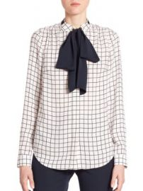 MICHAEL MICHAEL KORS - Windowpane Silk Tie-Neck Blouse at Saks Fifth Avenue
