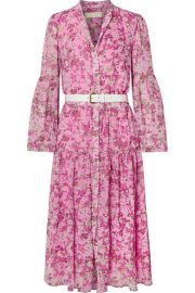 MICHAEL Michael Kors - Belted tiered floral-print chiffon midi dress at Net A Porter