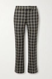 MICHAEL Michael Kors - Cropped checked cotton-blend flared pants at Net A Porter
