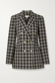 MICHAEL Michael Kors - Double-breasted checked cotton-blend blazer at Net A Porter