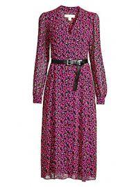 MICHAEL Michael Kors - Multi-Floral Belted Dress at Saks Fifth Avenue