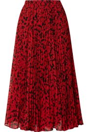 MICHAEL Michael Kors - Pleated printed fil coup   georgette midi skirt at Net A Porter