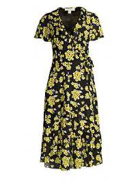 MICHAEL Michael Kors - Ruffled Floral Midi Wrap Dress at Saks Fifth Avenue