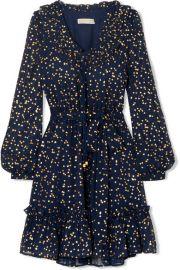 MICHAEL Michael Kors   Ruffled metallic printed chiffon mini dress at Net A Porter