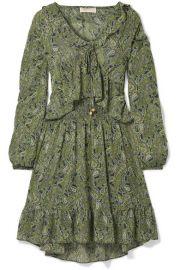 MICHAEL Michael Kors   Ruffled printed chiffon mini dress at Net A Porter
