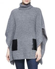 MICHAEL Michael Kors  Leather-Pocket Knit Poncho at Neiman Marcus