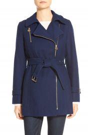 MICHAEL Michael Kors Belted Asymmetrical Zip Wool Blend Coat  Petite    Nordstrom at Nordstrom