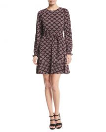 MICHAEL Michael Kors Chandelier Smocked-Cuff Dress at Neiman Marcus