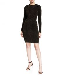 MICHAEL Michael Kors Diamond Metallic Long-Sleeve Twist Dress at Neiman Marcus