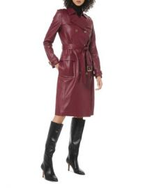 MICHAEL Michael Kors Double-Breasted Leather Trench Coat Women - Bloomingdale s at Bloomingdales