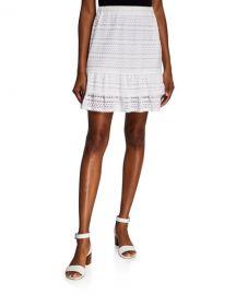 MICHAEL Michael Kors Eyelet Lace Mini Ruffle Skirt at Neiman Marcus