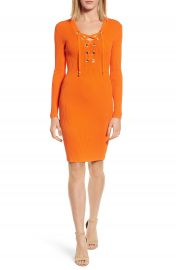 MICHAEL Michael Kors Lace-Up Ribbed Dress at Nordstrom