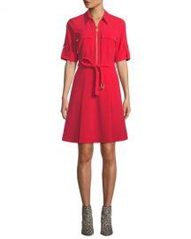 MICHAEL Michael Kors Lock-Zip Crepe Shirtdress at Neiman Marcus