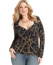 MICHAEL Michael Kors Long-Sleeve Printed Faux-Wrap Zip Top at Macys