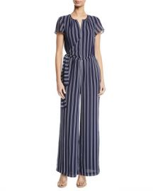 MICHAEL Michael Kors Mega Railroad Striped Jumpsuit at Neiman Marcus